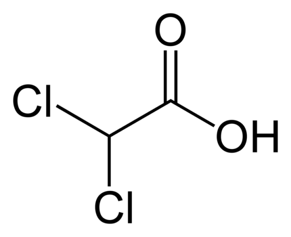 738px-Dichloroacetic-acid-2D-skeletal